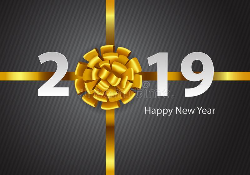 Happy New Year 2019 gold ribbon white number text on gray line pattern design for holiday festival countdown celabration backgroun royalty free illustration