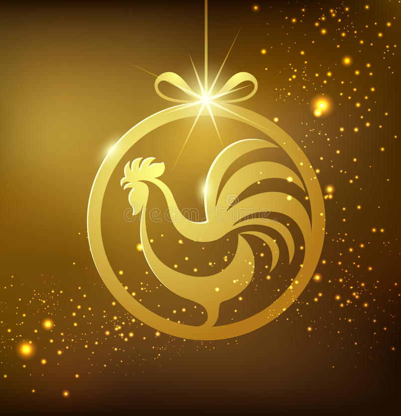 Happy New year gold rooster. Concept design background stock illustration