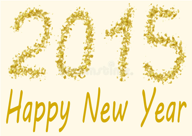 Happy New Year 2015 in gold spangles stock illustration