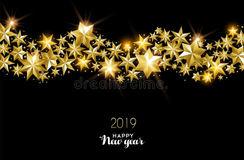 Happy New Year 2019 gold star decoration card royalty free illustration