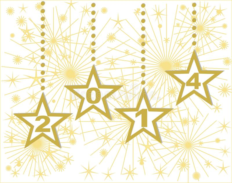 Happy New Year 2014 Gold Stars Stock Photography