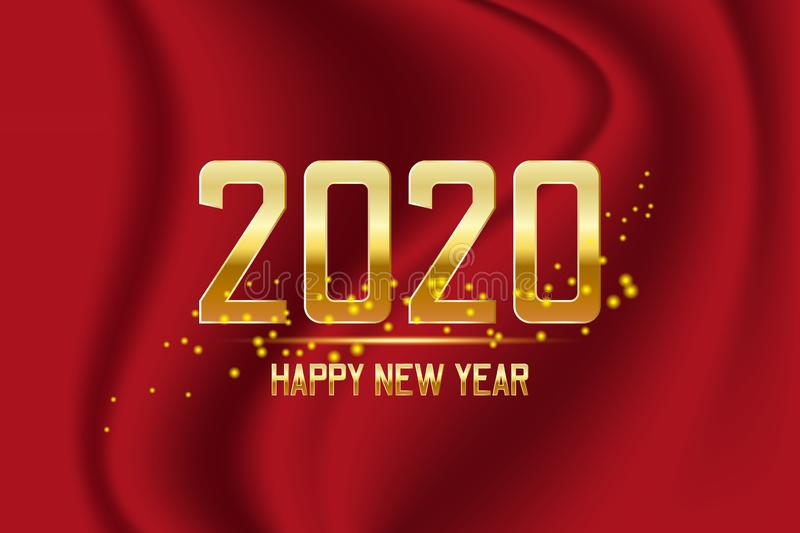 Happy New Year 2020 Gold Text Design on red background. Vector illustration vector illustration