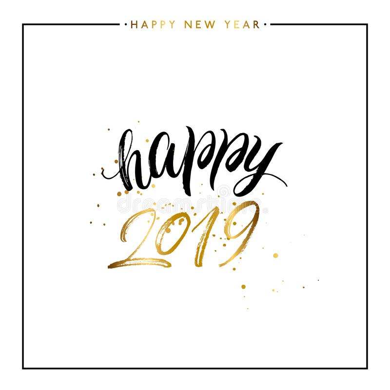 Happy New Year 2019 gold text with golden splashes stock illustration