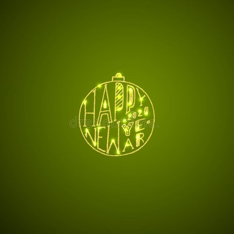 Gold text in a retro frame on green background stock illustration