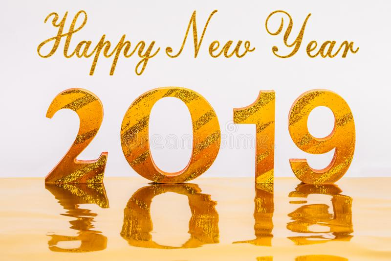 Happy new year 2019 with gold writing in golden background. Is mean the golden year for lucky all year stock illustration