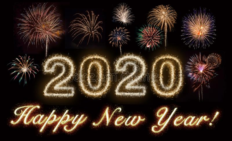 Happy New Year 2020 Gold royalty free illustration