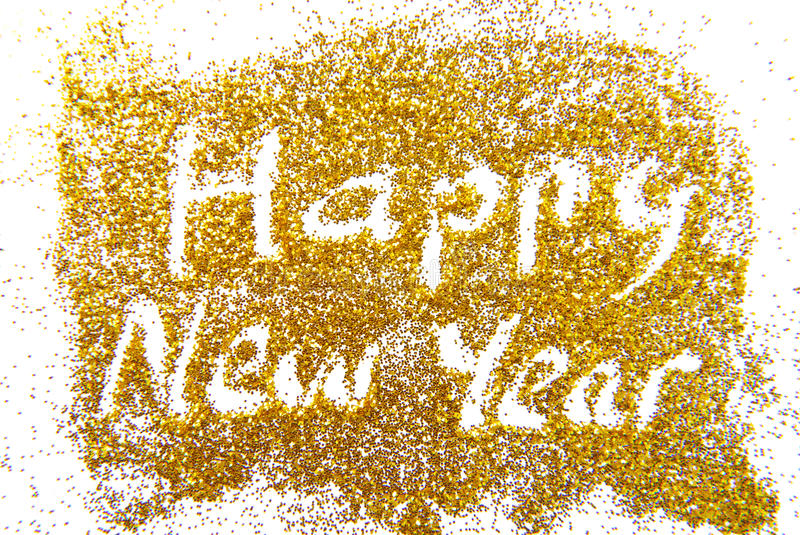 Happy New Year golde. N glittering background stock photography