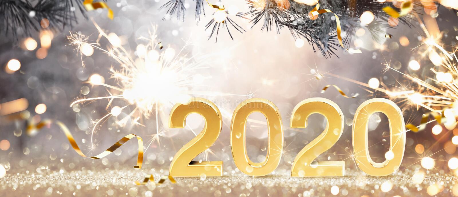 Happy New Year 2020. Golden Background with Confetti royalty free stock images