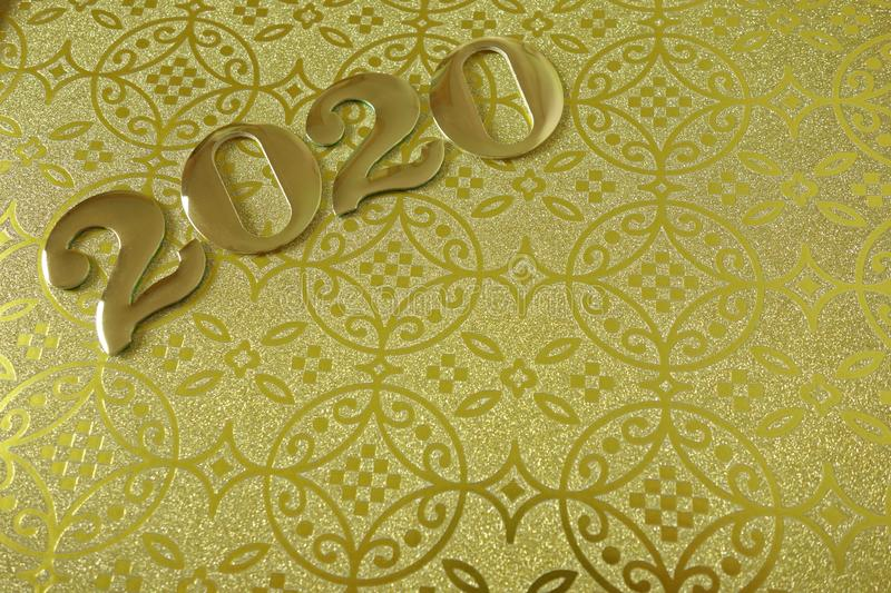 Happy New Year 2020. Golden background with space for design royalty free stock photo