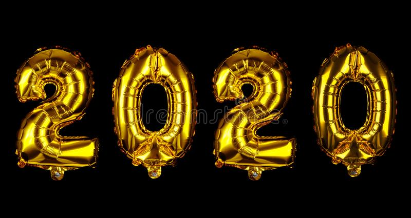 Happy New Year 2020. Golden balloons royalty free stock photos