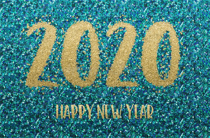 Happy New Year 2020. Golden and blue confetti royalty free stock photo