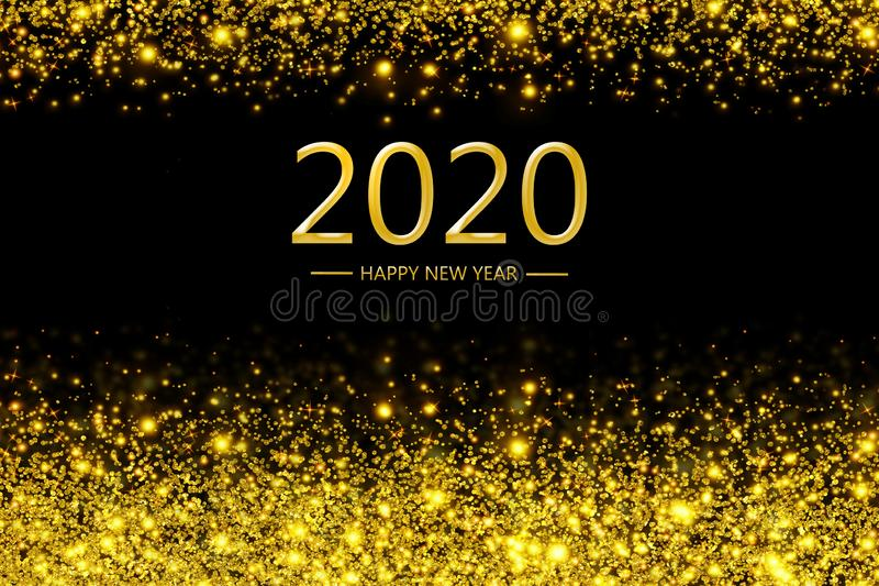 Happy new year 2020 with golden bokeh light sparkling on dark background, Holiday greeting card royalty free illustration