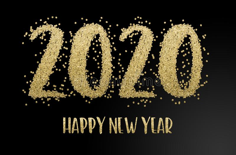 Happy New Year 2020. Golden confetti royalty free stock image