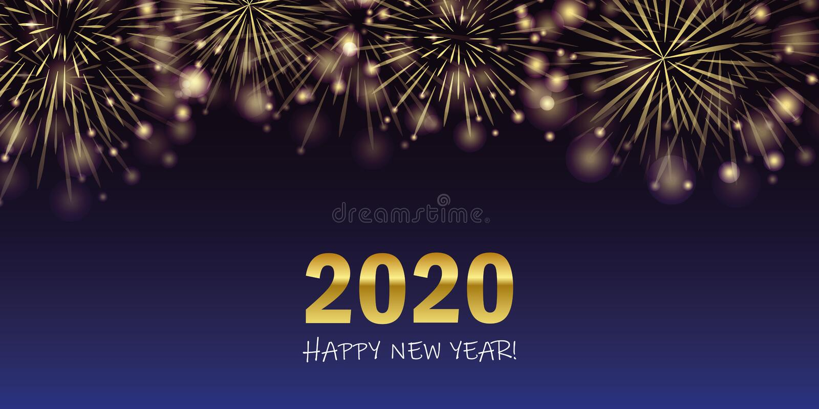 Happy new year 2020 golden firework background vector illustration