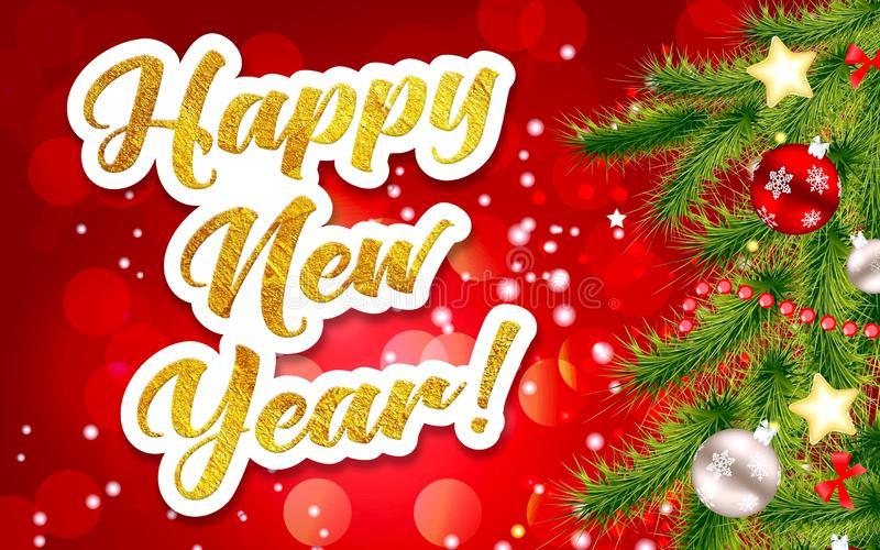 Happy New Year. Golden inscription on a festive background. Happy new year greeting written in gold letters on a festive background royalty free stock photos