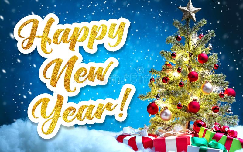 Happy New Year. Golden inscription on a festive background. Happy new year greeting written in gold letters on a festive background stock photo