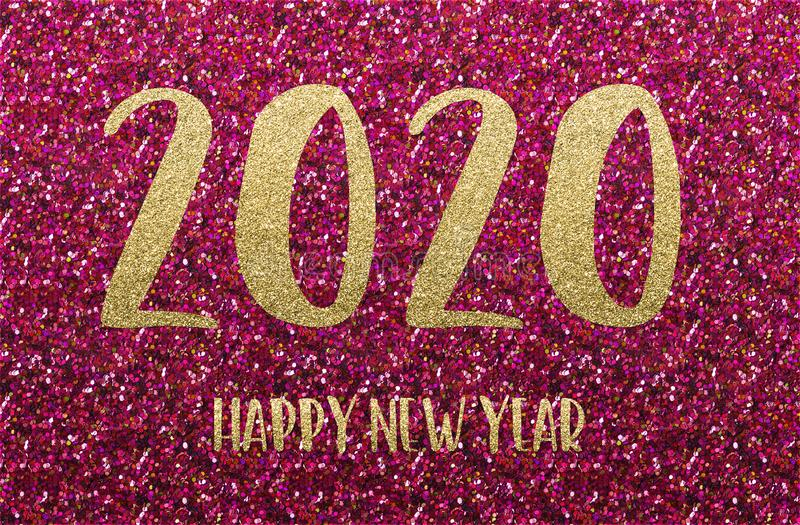 Happy New Year 2020. Golden and red confetti royalty free stock photo