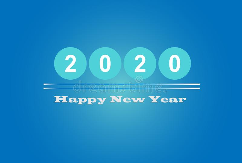 Happy New Year 2020 Graphics Background Wallpaper Greeting. Card, Presentation, Mobile Screensaver. Colorful Design Banner royalty free illustration