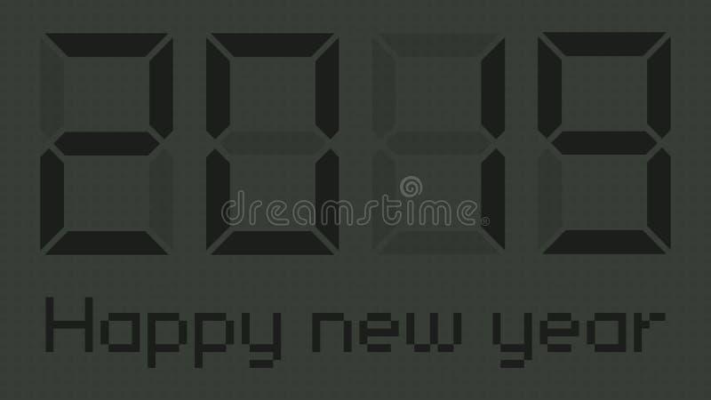 Happy new year 2019 gray digital clock vector illustration