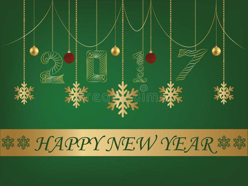 Happy New Year Green background greeting card 2017 vector illustration