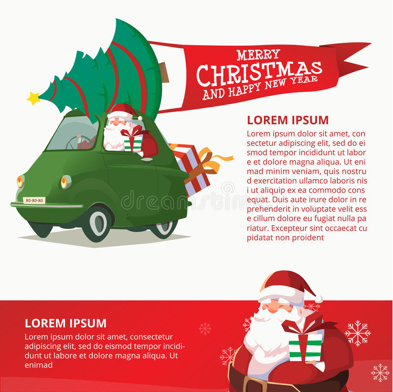 Happy New Year Green Car with Santa Claus Design Template royalty free stock photography