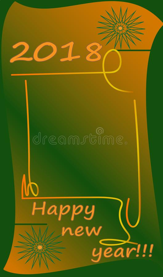 Happy new year !!! 2018 green, greeting card. stock image