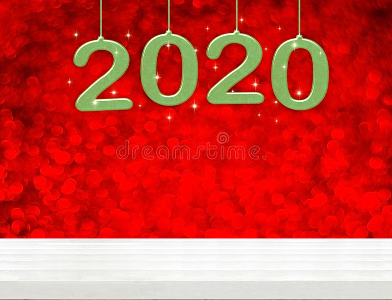 2020 happy new year green wood number 3d rendering on white wood table with sparkling red bokeh wall,leave space for display or stock illustration