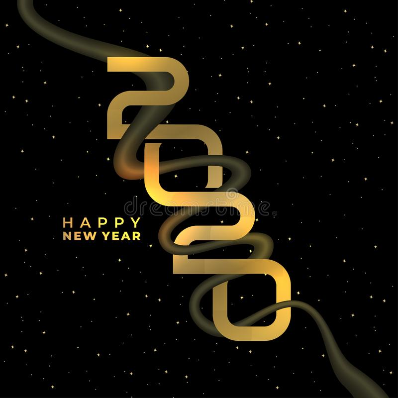 Happy new 2020 year. Greeting banner design golden colors decoration. Gold text on black background. Vector eps 10 stock illustration