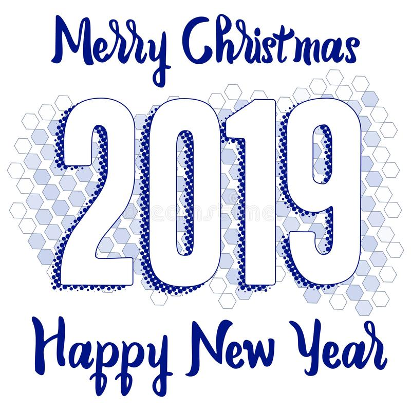 Happy New Year 2019 Greeting Card with Numbers on Smoky Background. Vector Illustration. Merry Christmas Flyer or Poster Design stock illustration
