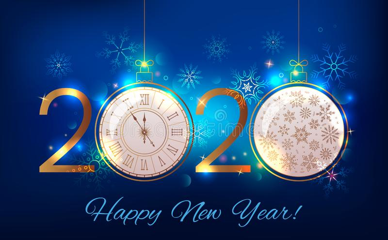2020 Happy New Year greeting card or banner on the background of fireworks, sparkle and stars and a Christmas ball with a royalty free illustration
