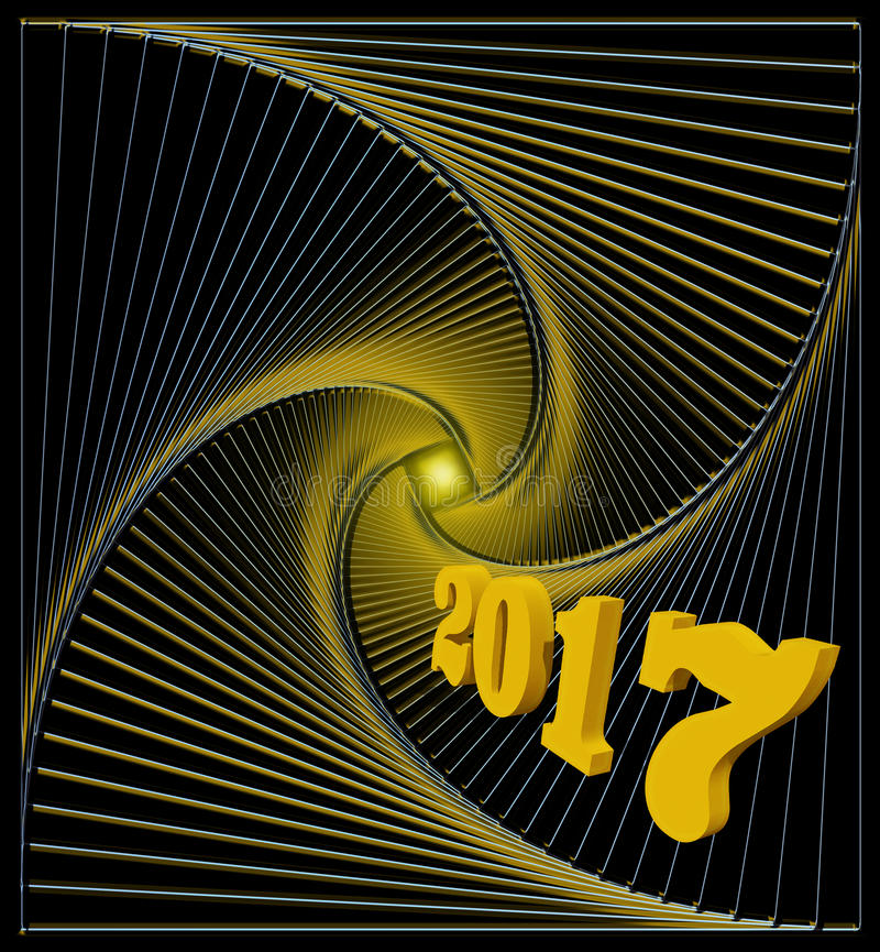 Happy new 2017 year greeting card in black and golden colors. Happy new 2017 year. Light at the end of the abstract spiral tunnel - hopes for happiness, joy and stock illustration