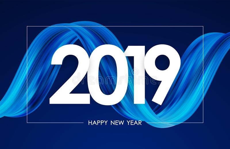 Happy New Year 2019. Greeting card with blue abstract twisted acrylic paint stroke shape. Trendy design vector illustration