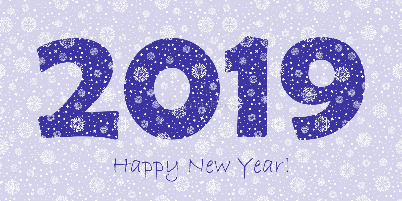 2019 happy new year greeting card. blue text on white winter background. snowflakes dots and stars. vector illustration. 2019 happy new year greeting card. blue royalty free illustration