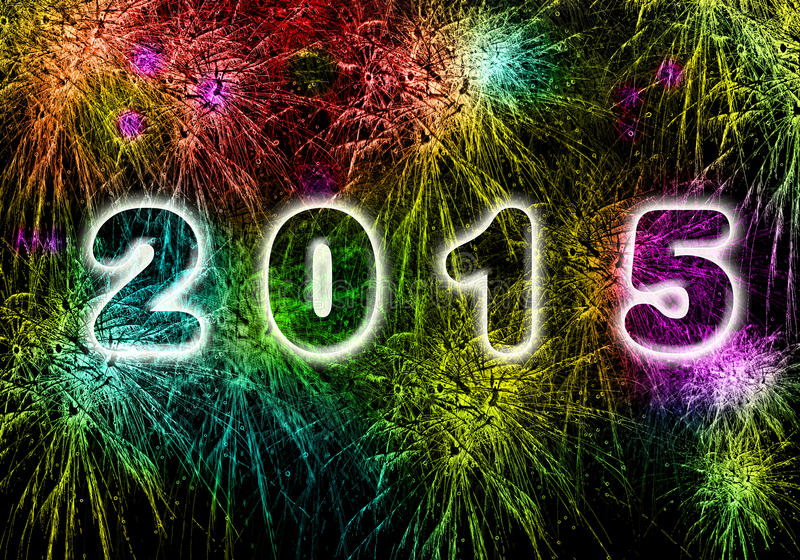 New Year fireworks explosion in 2015 royalty free illustration
