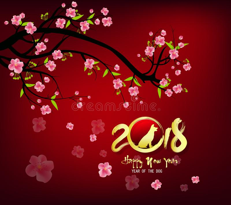 Happy new year 2018 greeting card chinese new year of ther dog download happy new year 2018 greeting card chinese new year of ther dog stock vector m4hsunfo