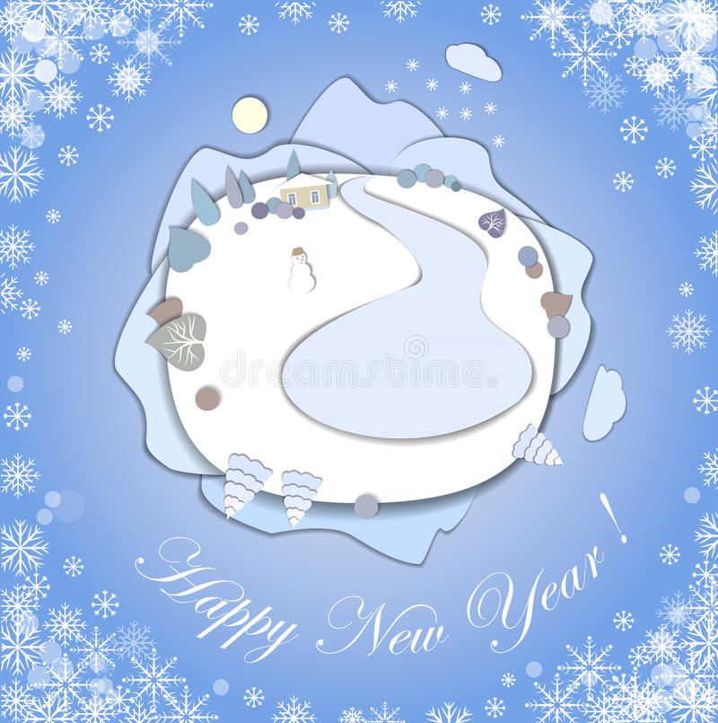 Happy New Year greeting card with Christmas Landscape. vector illustration