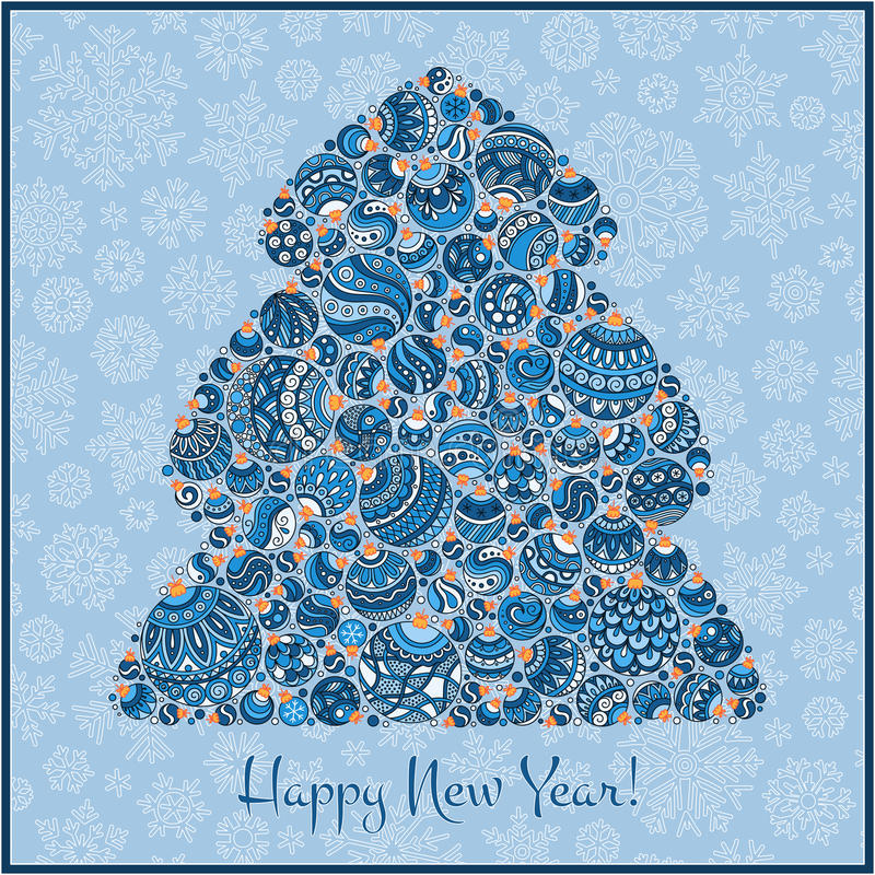 Happy New Year Greeting Card. Christmas tree from balls illustration. Happy New Year Greeting Card. Beautiful in retro style Christmas tree from balls royalty free illustration