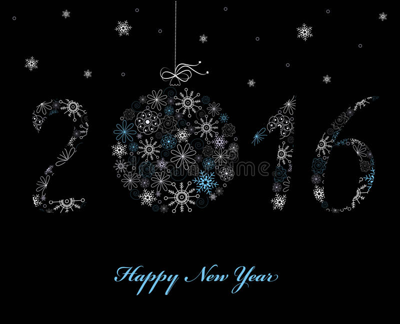 Happy New Year Greeting card 2016 royalty free illustration