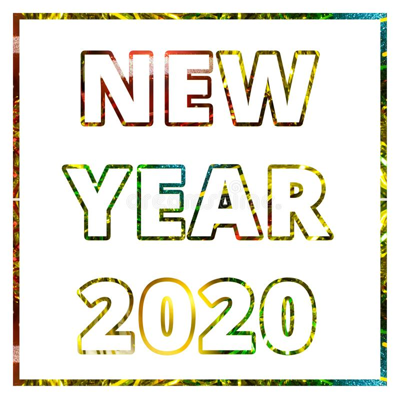 Happy new year 2020 greeting card. Congratulation decorated christmas balls and tinsel background concept royalty free stock images