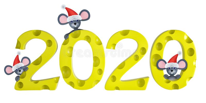 Happy new year 2020 greeting card with cute mouses and cheeses isolated on white. Animal wildlife holidays cartoon vector illustration