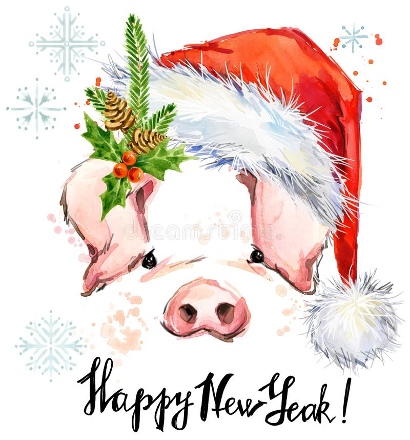 Happy New Year greeting card. Cute pig watercolor Illustration. stock illustration