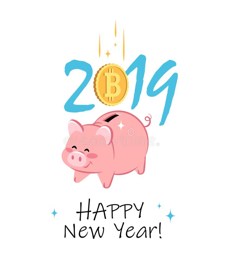 Happy New Year 2019. Greeting card with cute Piggy Bank and Bitcoin Coin. vector illustration