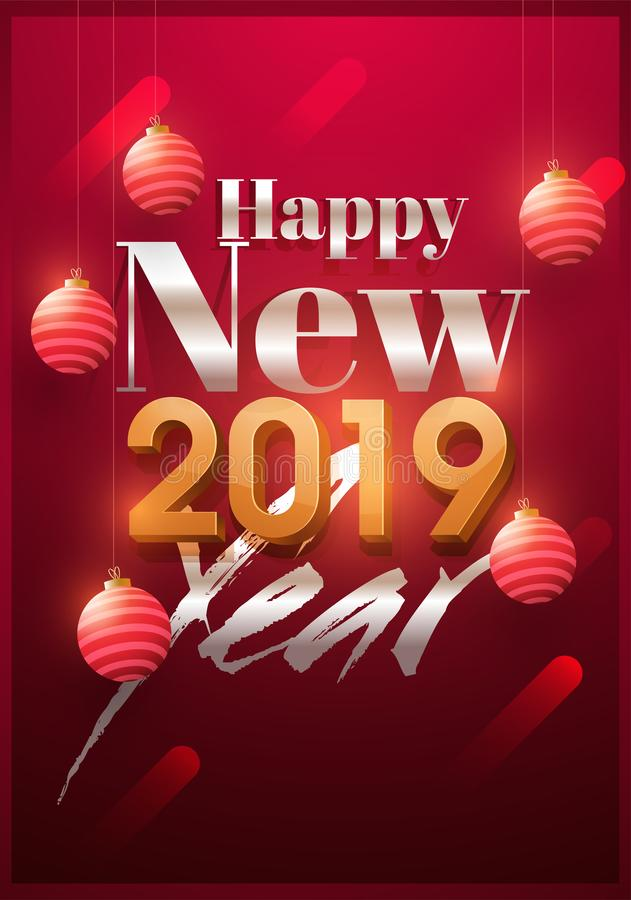Happy New Year 2019 greeting card design decorated with realistic baubles on glossy red background. stock illustration