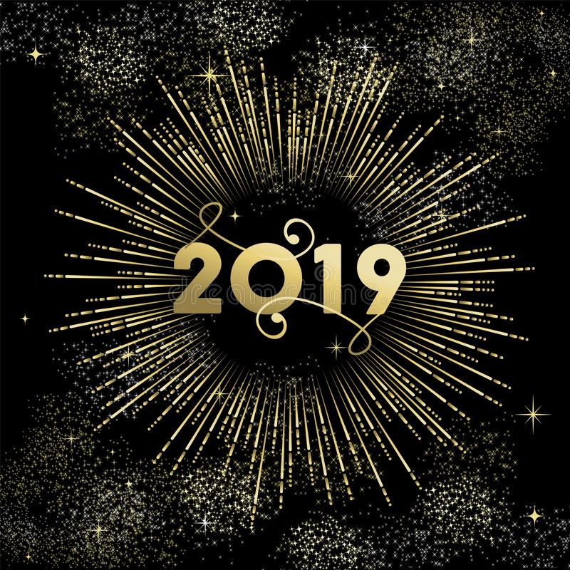 Happy New Year 2019 gold firework greeting card. Happy New Year 2019 greeting card design with gold party firework explosion on night sky royalty free illustration