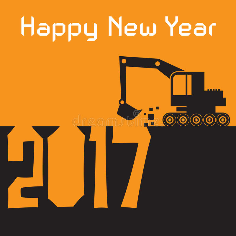 Happy New Year greeting card - Excavator digger at work. Vector illustration stock illustration