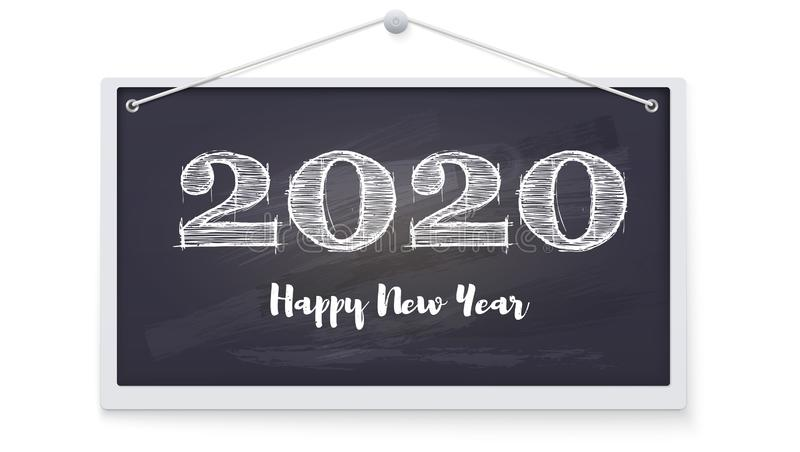 2020 Happy New Year greeting card. Festive background on chalkboard hanging on a wall. Stylish retro lettering for. Celebration of Christmas on blackboard stock illustration