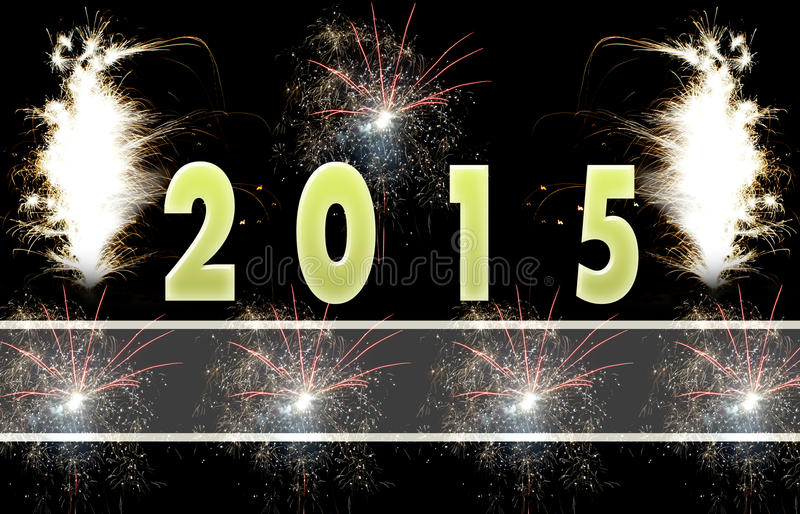 Happy New Year Card 2015. Happy New Year 2015 card with lots of areas for additional white text royalty free stock photos