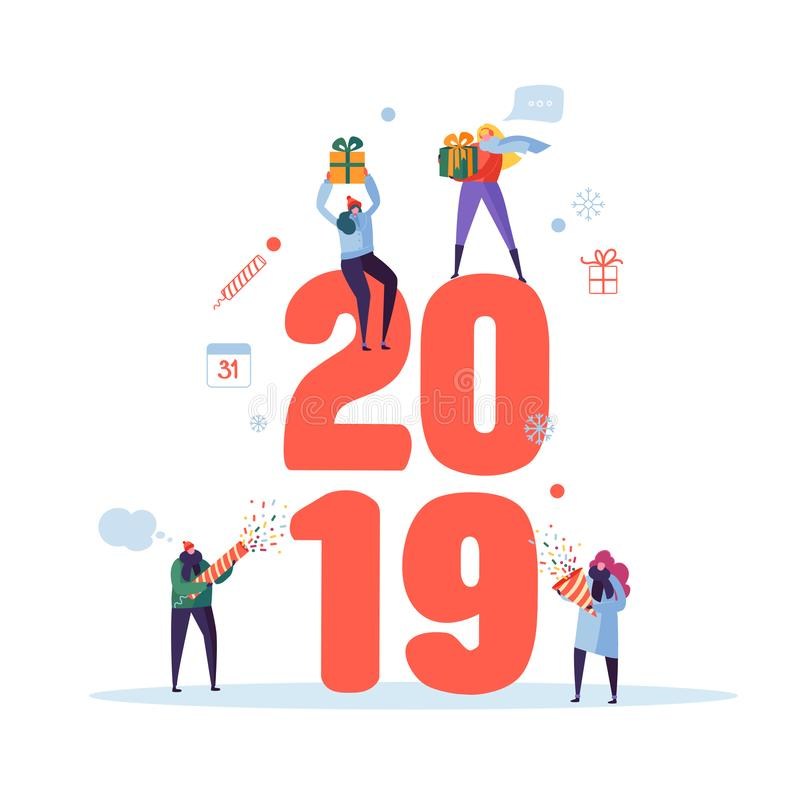 Happy New Year 2019 Greeting Card. Flat People Characters Celebrating Party with Gift Boxes and Confetti. Vector illustration royalty free illustration