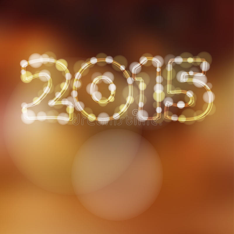 Happy new year greeting card, 2015 glitter lights royalty free illustration
