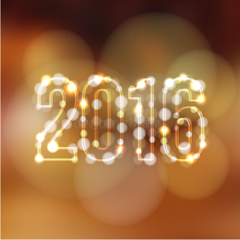 Happy new year greeting card with 2016 and glittering lights, royalty free illustration
